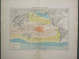 c1890 ANTIQUE MAP ~ ISOTHERMALS OF THE PACIFIC AUSTRALIA FIJI