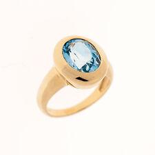 Gold Ring 585er Gelbgold 14K | Gr. 50 | 14mm | Blau-Topas 8 x 11mm | UVP 799€