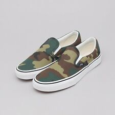 Vans Classic Slip On Woodland Camo Green Brown Gum Classic Skate Shoes Men's 13