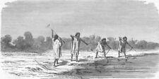 BRAZIL. Indians shooting fish 1880 old antique vintage print picture