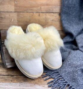 Sheepskin Slip-on Slippers Mules Women's Slippers Warm Fluffy Natural