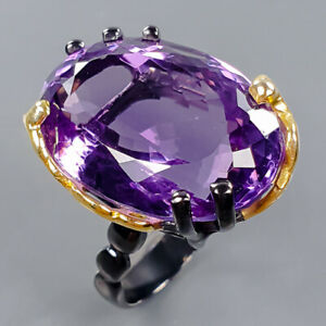 24x16 mm. Classic ring IF Amethyst Ring Silver 925 Sterling  Size 8 /R172321