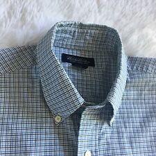 Brooks Brothers Dress Shirt White Blue Plaid Size Large Career Professional -E