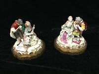 Pair Dresden-like 18th C Figurines with instruments and music Porcelain Antique