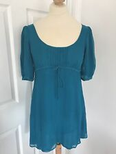 Turquoise Topshop Dress With Tie, Size 10!