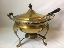 Antique Manning Bowman Perfection Chafing Dish w Burner Brass Copper Enamel
