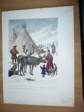 TROUPEAUX DE RENNES ET LAPONS  LITHOGRAPHIE ORIGINALE 1860 PAR E. DURUY