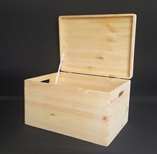 Large Wooden Boxes Plain Wood Storage Box Chest Lid Handles Keepsake Trunk