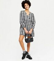 Wednesday's Girl Wrap Dress Size 8,12,18 & 22 Black Check Wrap Smock Dress GZ34