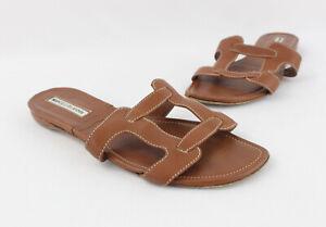 Manolo Blahnik Brown Leather Sip On Open Toe Flat Sandal Shoe Sz 37.5 US 7.5