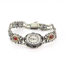 Analog Hand Wound Traditional Costume Women's Watch Anker Silver 835 with Garnet