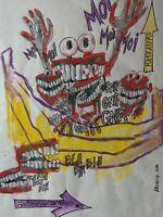 LDC Lysiane COSTE technique mixte sur papier  art délire humour