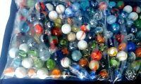 Vintage Marbles 1-Lbs Random Bag Lot. Cat's Eye Swirls Mica's Onionskin, More