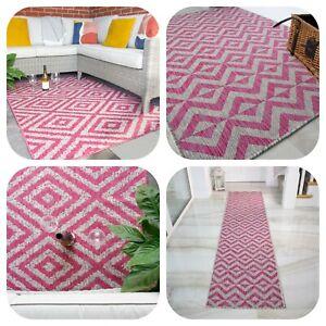 Pink Outdoor Indoor Rugs Home & Garden Flatweave Lightweight Patio Summer Mats