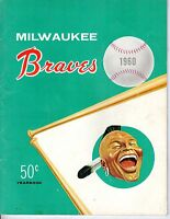 1960 Milwaukee Braves Yearbook Baseball magazine, Hank Aaron, Eddie Mathews