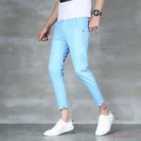 New Men's slim fit pencil cropped pants khaki trousers summer casual shorts