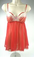 NWT Vintage Victoria's Secret Red Sheer Baby Doll Nylon Nightie Lingerie Small