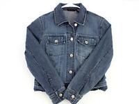 Vtg NEW YORK & CO Medium Wash Blue Denim Jean Trucker Jacket Women's XS
