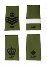 ACF Army Cadet Force CFAV Adults Green Rank Slides Black Thread Single or Pair