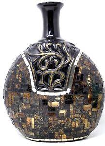 Mosaic Stained Glass Vase Terracotta Round Bottle Vessel Safari