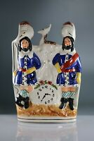 Staffordshire 23cm Flatback Figure of 2 Soldiers with clock
