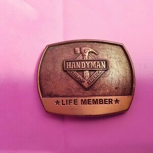 1996 Solid Brass Handyman Club Of America Life Member Belt Buckle