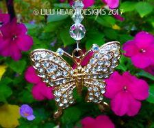 Rhinestone Butterfly w/ Swarovski Beads Car Charm Suncatcher Lilli Heart Designs