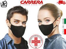 Carrera Protezione Copri Bocca Naso Lavabile Nero Cotone 100% Dispositivo Medico