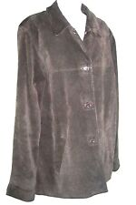 Eddie Bauer Womens LG TALL Suede leather Coat Jacket Brown Button Down EUC
