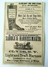 1867 New York Clyde Syron Boot Shoe Vandenberg Saddle Harness Advertisement Ad