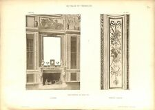 Bibliothèque de Louis XVI Cheminée Panneau Château de Versailles GRAVURE 1899