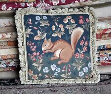 Needlepoint Pillow Cover Petitpoint Technique Squirrel Throw Wool Cushion 18x18