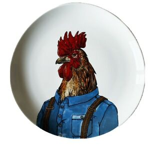 "West Elm By Rachael Kozlowski 8.5"" Dapper Animal Rooster Salad Plate"