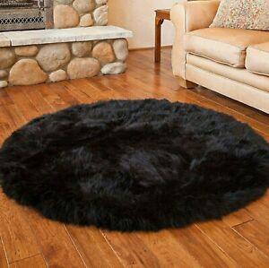 Round Sheepskin Faux Fur Throw Rug