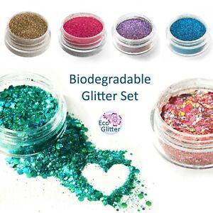 TRIAL PACK 6 Biodegradable Eco Bio Glitters - incl 2 CHUNKY! tattoos nails  Kfa