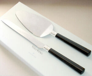 Vera Wang With Love Noir Cake Knife & Server Set Black Enamel/Silverplate New