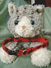 New listing Cat Collar Handmade - Black Paws On Red Cotton Fabric.Cat Wants To Be Seen?