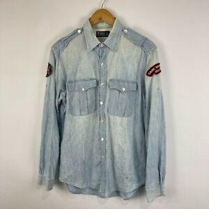 Ralph Lauren Mens Button Up Shirt Size M Medium Acid Wash Blue Patchwork 70.17