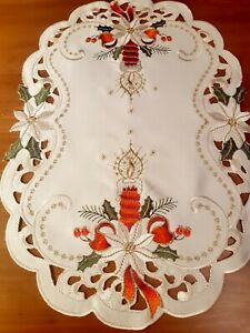 "6PCS *  Xmas Oval"" Embroidered-RedCandle/White Poinsettia ""Polyester Placemats"
