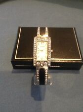 Chico's Stainless Steel Pebbled Leather Inlay Cuff Wrist Watch