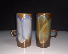 Pair of Caffe D'Vita Stoneware Drip Glaze Espresso Cappuccino Irish Coffee Cups