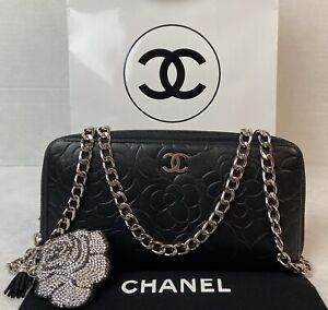 AUTHENTIC CHANEL Camilla Black Leather CC Zip Around Long Wallet~o🇺🇸US SELLER