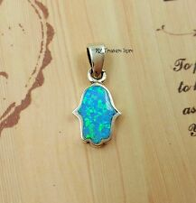 Blue Opal Hamsa Hand Of Fatima Pendant Sterling Silver Small Lucky Charm Jewelry