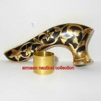 Vintage Designer Brass Handle Antique Wooden Walking Stick Cane Victorian Gift