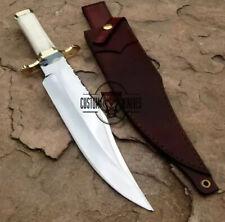 CUSTOM HANDMADE D-2 TOOL STEEL CAMEL BONE MIRROR HUNTING BOWIE KNIFE WITH SHEATH