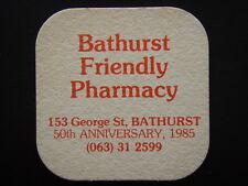 BATHURST FRIENDLY PHARMACY 153 GEORGE 50th ANNIVERSARY 1985 063 312599 COASTER