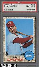 1968 Topps #108 Don Pavletich Cincinnati Reds PSA 8 NM-MT