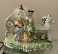 VTG Victorian Style Coach With Figurines & Horses Mini Porcelain Table Lamp.