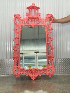 HAND CARVED CHINESE CHIPPEDALE CHINOISERIE SALMON COLORED WOOD MIRROR