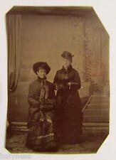 ANTIQUE VICTORIAN 1800's TIN TYPE STUDIO PHOTO OF TWO WOMEN / #4